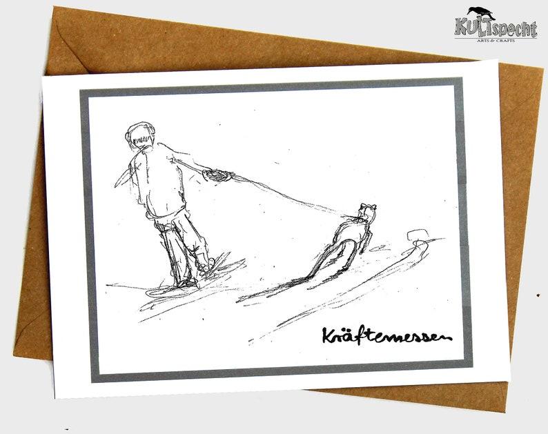 Folding card art print dog-walking pencil sketch dog card image 0