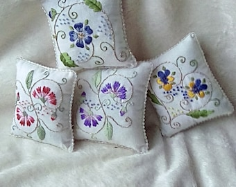 Hand embroidered lavender cushion