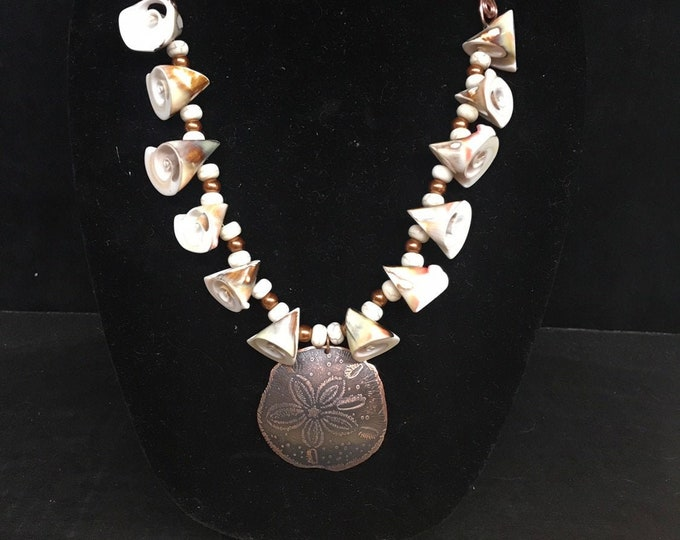 Seashells, Glass Pearls, Leather with Copper Sand Dollar Pendant Necklace