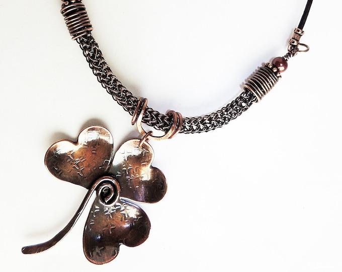 Copper Shamrock Pendant Metal Work on Viking Knit Chain & Leather Handmade