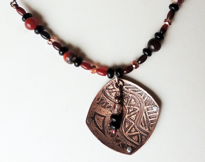 Etched Copper Pendant Carnelian Beaded Necklace Handmade