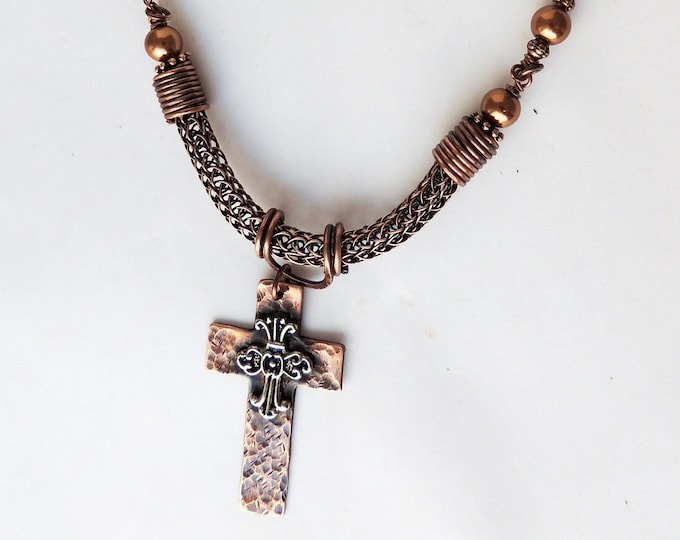 Hammered Handcut Cross,Glass Pearls, Viking Knit and Leather Necklace