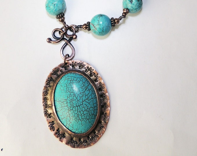 Turquoise Howlite Pendant Beaded Necklace Handmade