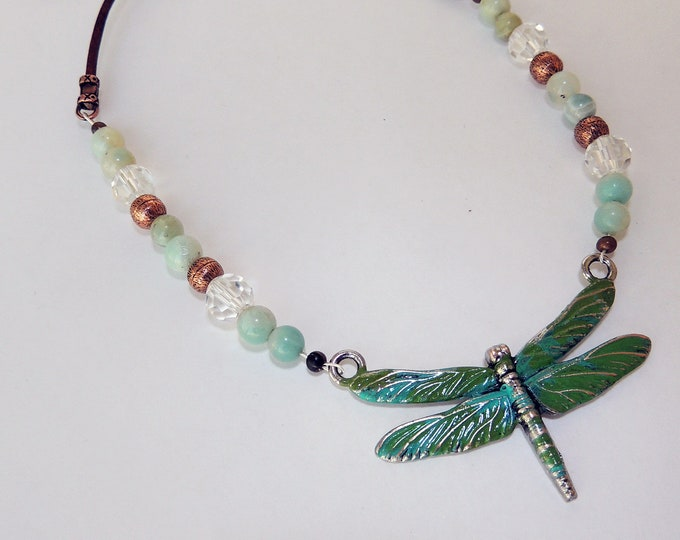 Dragonfly Pendant Beaded Necklace with Leather