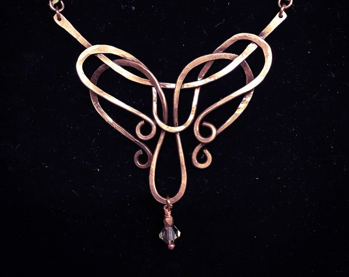 Twisted Wire Pendant and Leather Necklace Handmade