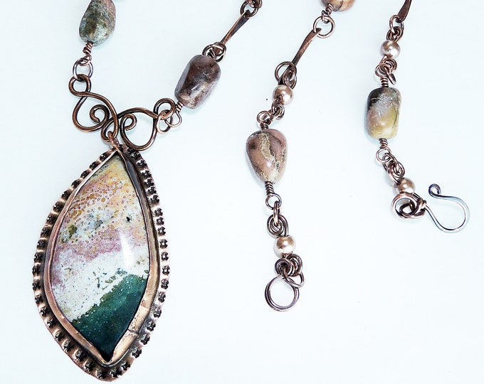 Jasper Bezel Pendant with Rhodonite Beaded Chain Handmade