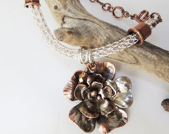 Sterling Silver and Copper Handmade Necklace with Reticulated Silver Flower Pendant