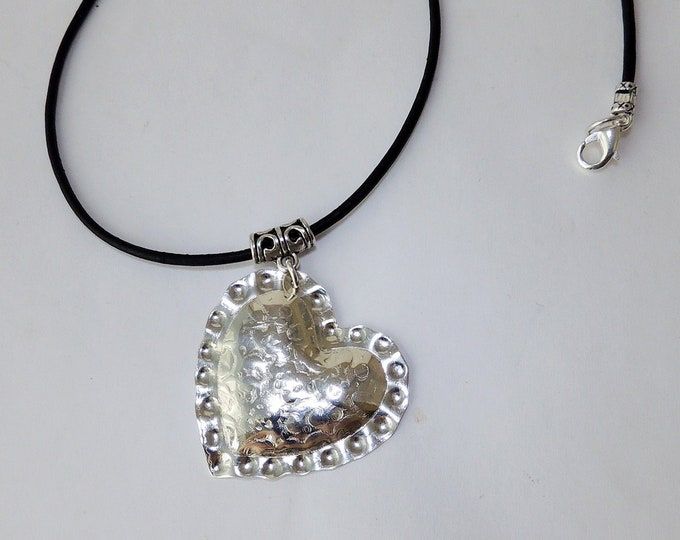 Hand Cut Sterling Silver Impression Heart & Leather Necklace