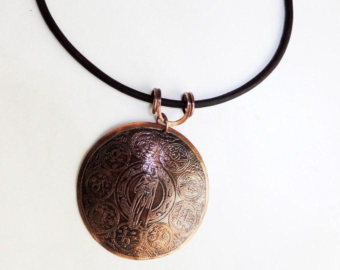 Zodiac Pendant & Leather Necklace Handmade