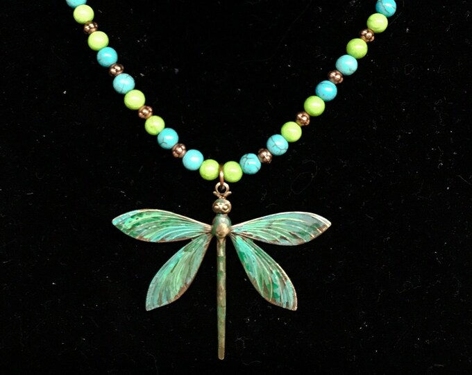 Beads & Leather Dragonfly Pendant Necklace