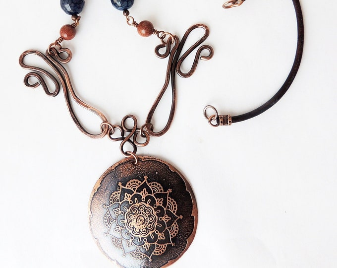 Lapis & Gold Stone Beaded Copper Mandala Necklace