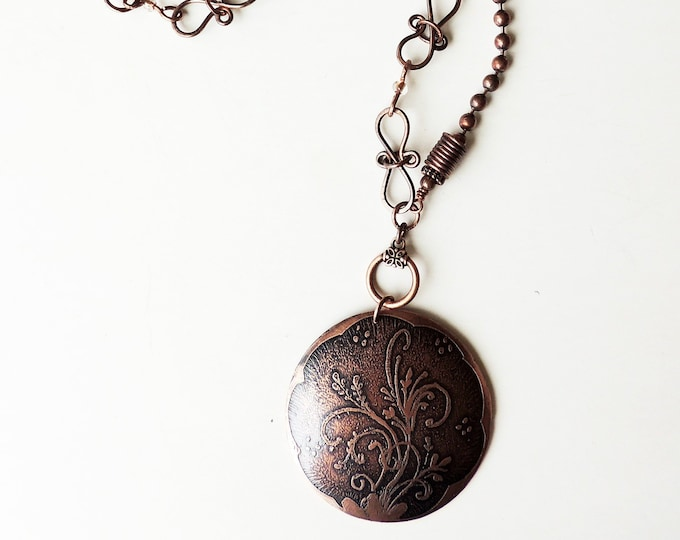 Convertible Necklace with Handcrafted Chain and Etched Copper Pendant
