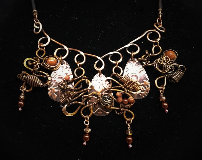 Crazy Twisted Beaded Copper Necklace & Leather Handmade