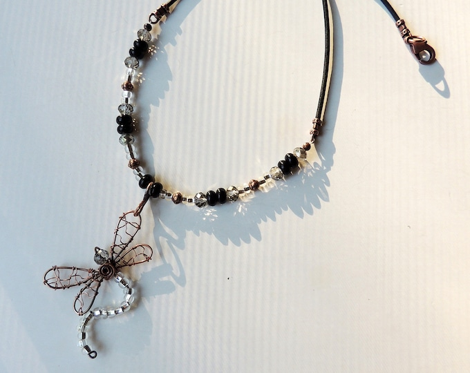 Wire Copper Dragonfly Pendant Beaded and Leather Necklace
