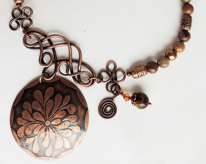 Etched Copper Pendant Beaded Jasper Necklace Handmade