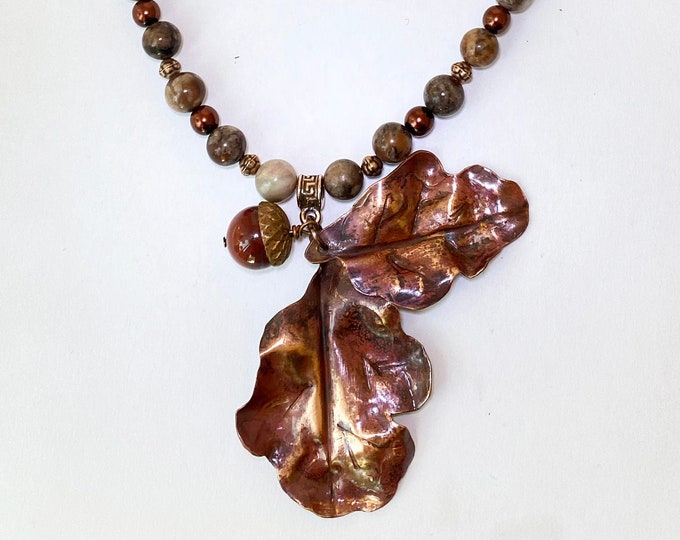 Copper Fold Form Leaf Pendant Beaded Jasper and Leather Necklace