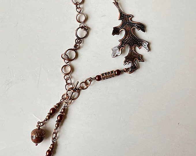 Etched Copper Oak Leaf & Handmade Chain with Glass Pearls