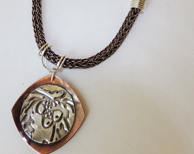Mixed Metal Copper & Sterling Pendant with Copper Viking Knit and Leather, Handmade