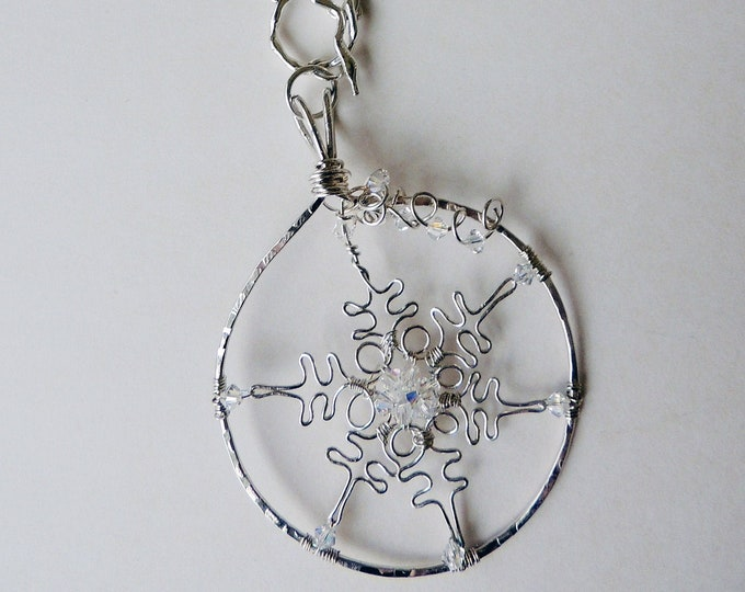 Convertible Handmade Sterling Silver Snowflake Necklace