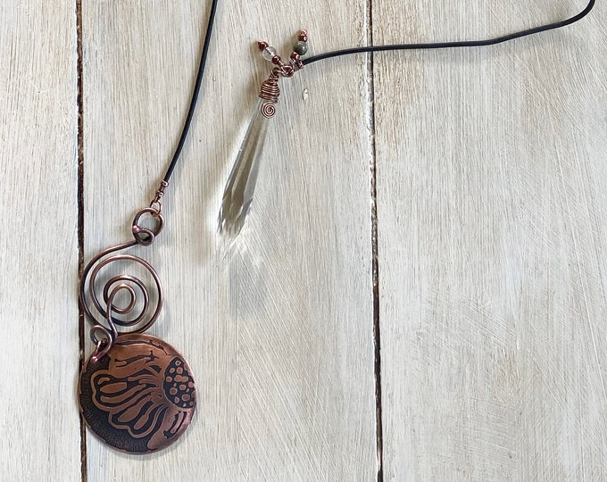 Rutilated Quartz Lariat with Vintage Prism and Etched Pendant