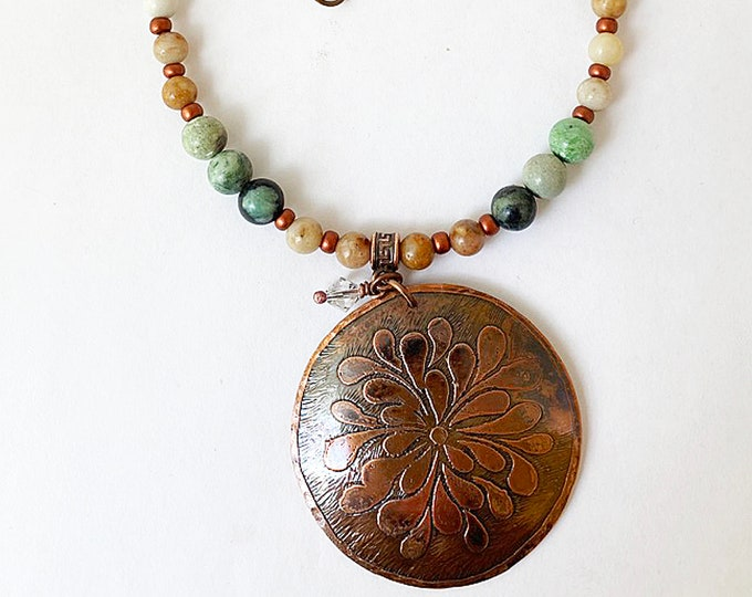 Turquoise and Agate Beaded Necklace with Etched Copper Pendant