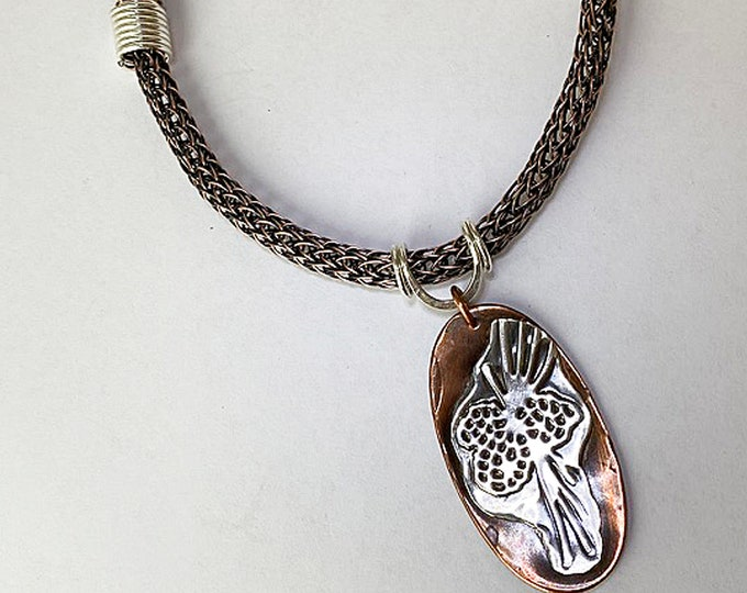 Mixed Metal Pine Cone Textured Pendant Necklace