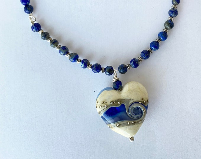Glass Heart Pendant with Lapis Lazuli and Black Leather Necklace