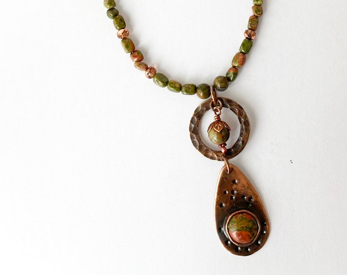 Unakite and Czech Glass Beaded Necklace