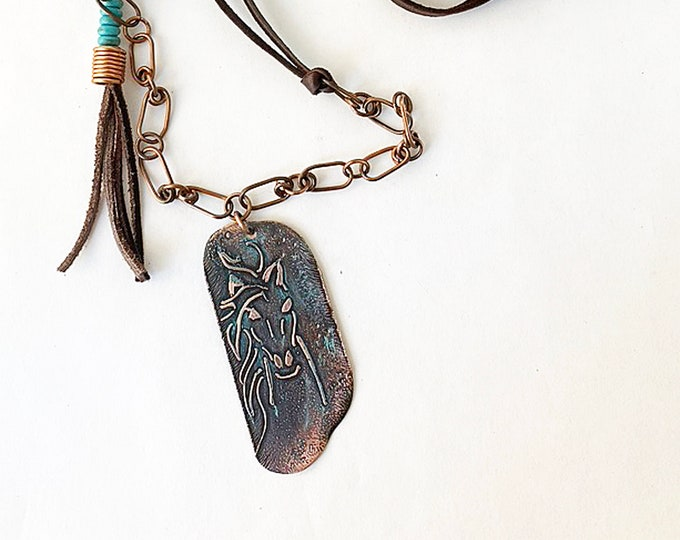 Wild Horse Etched Copper Pendant & Leather Necklace