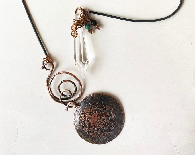 Copper Mandala Pendant, Vintage Glass Prism, Turquoise and Onyx Beaded Lariat