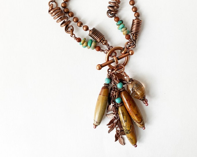 Convertible Beaded Wired Copper Necklace