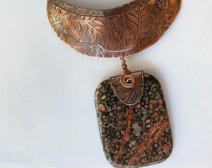Leopard Jasper Pendant Copper Statement Necklace