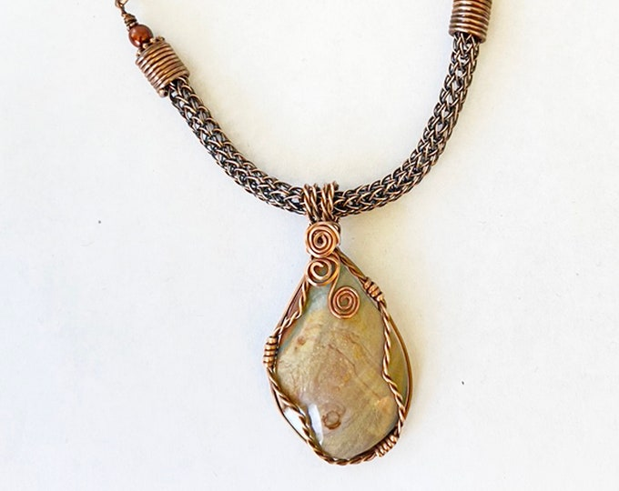 Copper Wired Jasper Pendant with handmade Viking Knit and Copper Chain