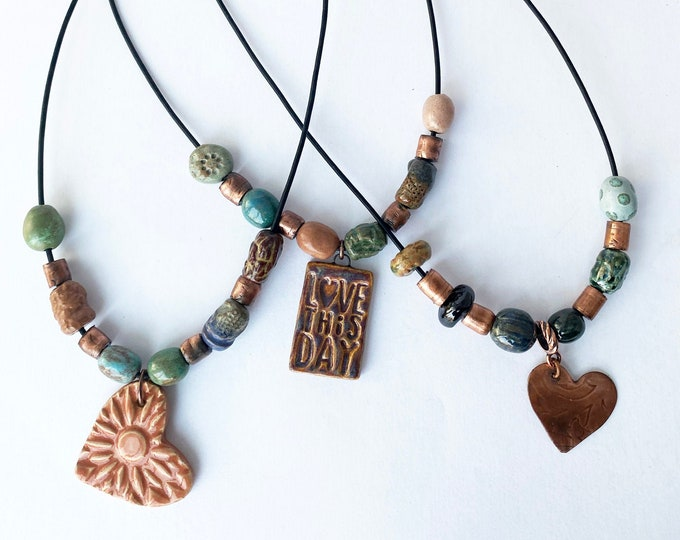 Boho Chic Pottery Bead and Copper Necklace