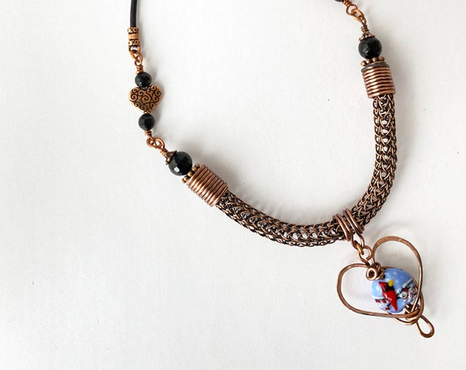 Winter Cardinal Heart Pendant Necklace with Viking Knit and Leather