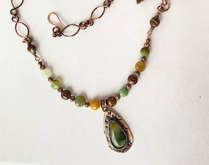 Chrysoprase Beaded Necklace with Agate Pendant Handmade Chain, Electro Formed Dragonfly