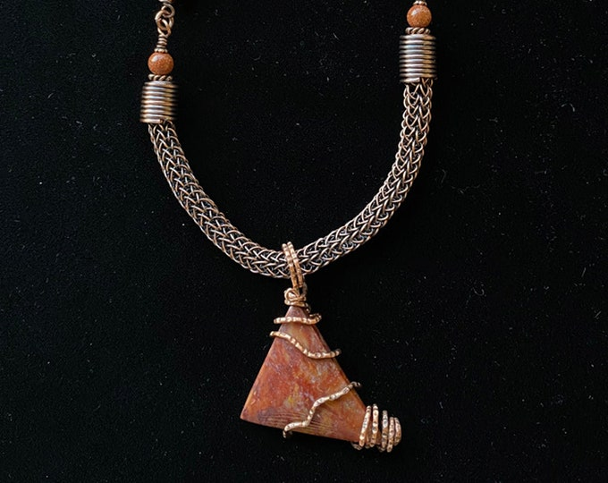 Wire Wrapped Red Jasper Stone, Viking Knit and Leather Necklace