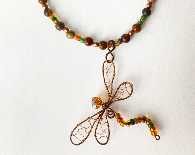 Wired Dragonfly Pendant and Beaded Jasper Necklace