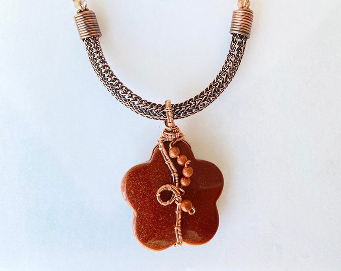Goldstone Pendant with Copper Viking Knit and Leather