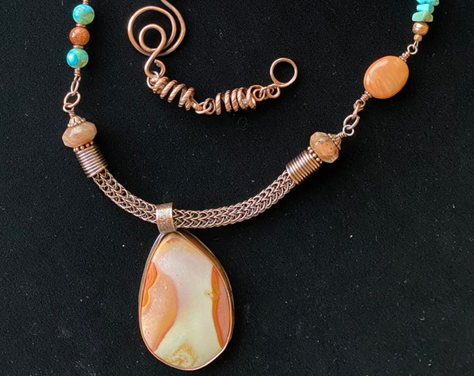 Jasper Pendant with Twisted Textured Wire, Agate, Goldstone and Turquoise