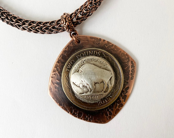 Buffalo Button Pendant, Viking Knit and Leather Necklace