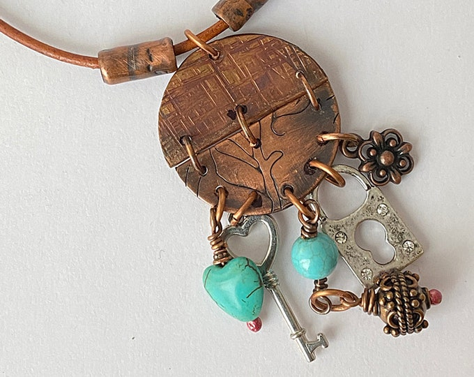Boho Chic Copper and Charms Necklace