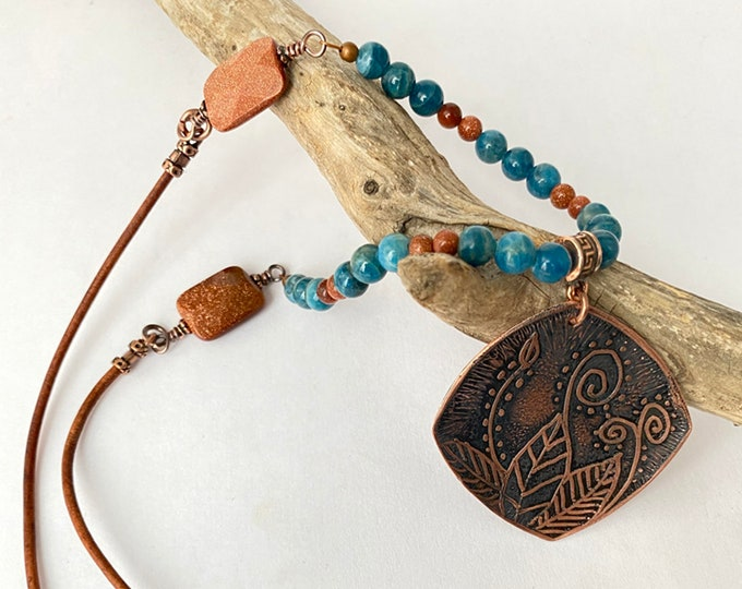 Copper Etched Pendant with Blue Apatite and Gold Stone