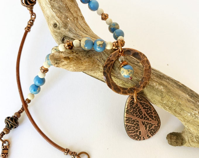 """Copper Teardrop Pendant with Blue """"dyed"""" magnesite and leather"""