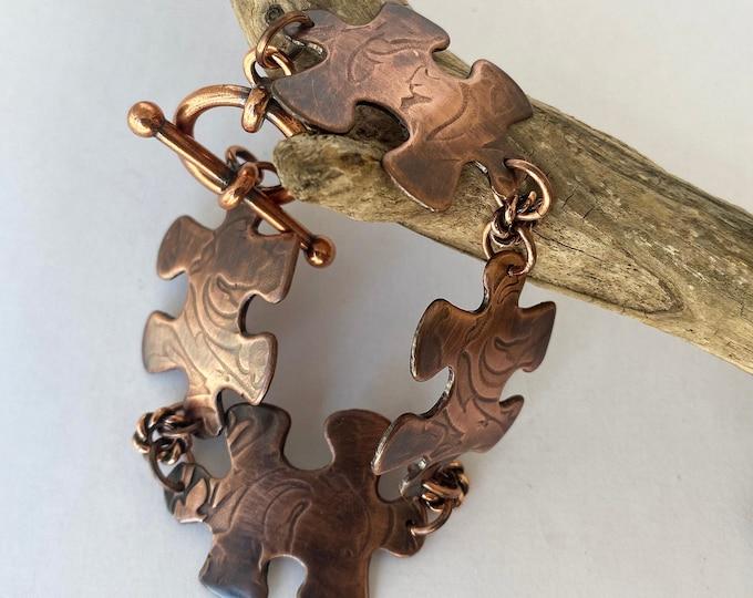 Copper Puzzle Piece Bracelet