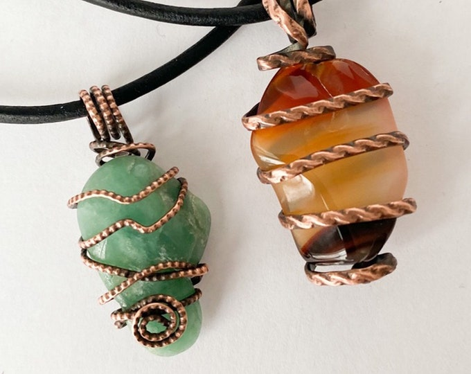 Wire Wrapped Red Agate and Aventurine Stone Pendant Necklaces