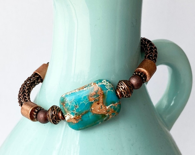 """Copper Viking Knit Bracelet with Turquoise """"dyed"""" stone"""