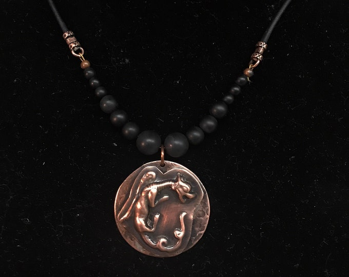 Dragon Copper Pendant Onyx Bead & Leather Necklace