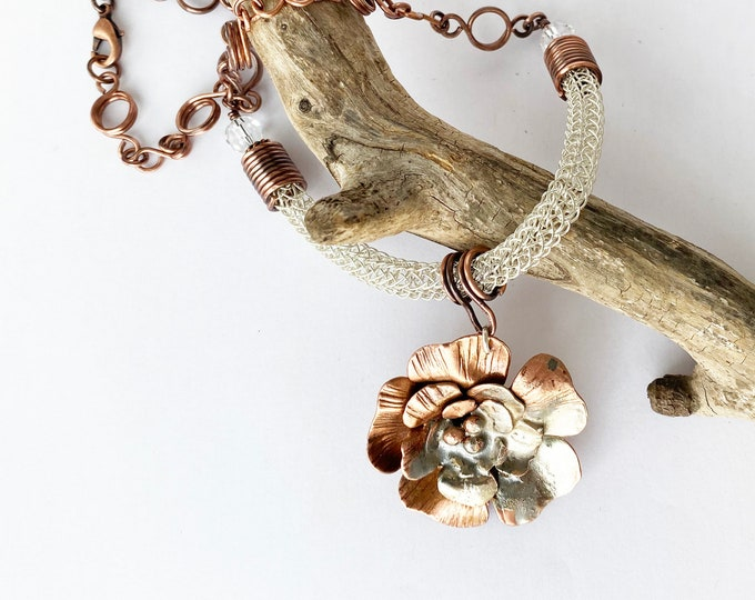 Sterling Silver and Copper Necklace with Copper Sterling Silver Flower Pendant