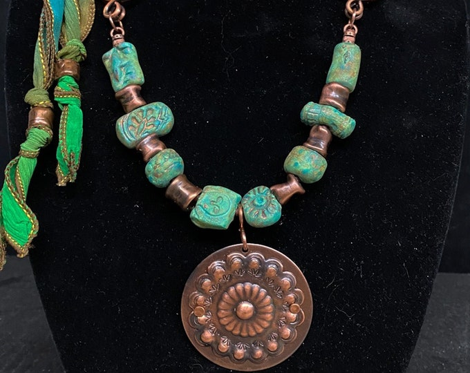 Handmade Pottery Beads, Copper Beads and Copper Concha Pendant with Silk Ties